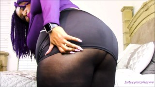BBW Black Miniskirt and Pantyhose Tease