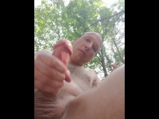 naughty cumming nature boy masturbating