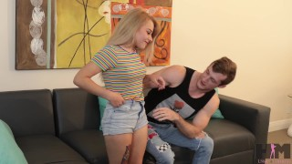 Hussie Auditions: Shortest (4'7) girl in porn does her 1st scene ever!  point of view short girl big cock riding teen audition blonde amateur first time pov toys young rough teenager facial hussieauditions