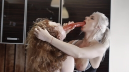 First Time Ginger and Kate Truu Cooking Together Turns in Hot Kitchen Orgy