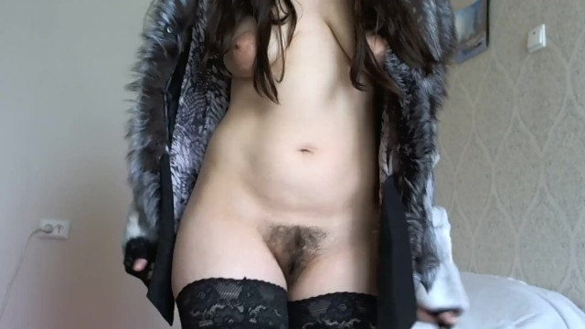 Naked girls with fur - Smokes sexually naked in stockings and in a fur coat