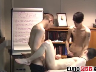 Skinny Euro twinks bareback during an office meeting