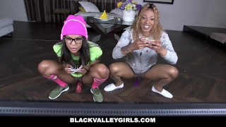 BlackValleyGirls - Gamer Black Girls Share White Cock Kink strip