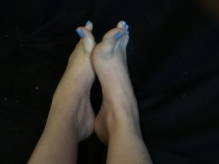 Sexy Teen Feet Pale with Blue Toenail Polish Toe Scrunching and Crossing