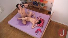 Two guys take turns on hot Japanese teen