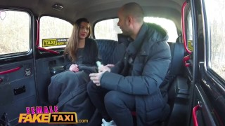 Horny female craving taxi minx taxi cab after fake hard hot sex cums for bizarre cowgirl