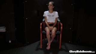 Preview 2 of Tiny Destiny Lovee makes strangers cocks happy in the gloryhole