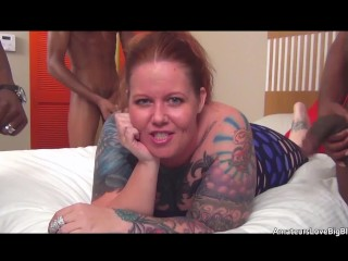 Tattooed thick amateur redhead set upon by 3...
