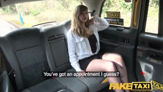 Preview 1 of Fake Taxi Busty passenger gives good tit wank and rides drivers big beard