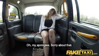 Preview 2 of Fake Taxi Busty passenger gives good tit wank and rides drivers big beard