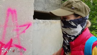 Graffiti girl caught and fucked by owner receive a cum in mouth