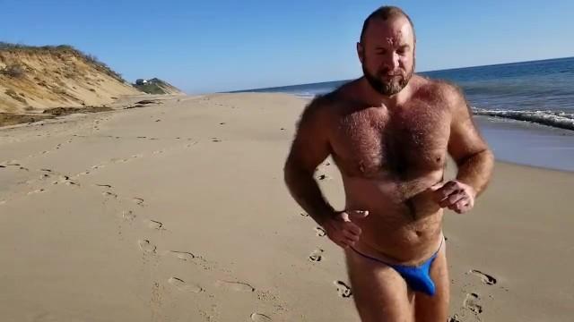 Gay beach bikini sex Slow motion beach bikini running