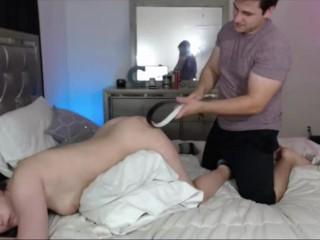 Stepsister Spanked during Webcam show