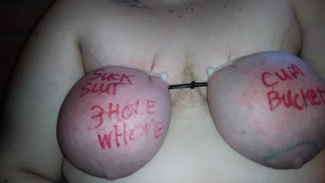 Breast bound till purple Large breasts bound with zip ties beaten and abused
