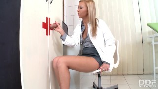 Hot Slutty Blonde Nurse Jessy Brown Kneels for the Gloryhole  big cock teen oral euro blonde blowjob cumshot cock sucking swallow deepthroat perky tits only blowjob cum in mouth