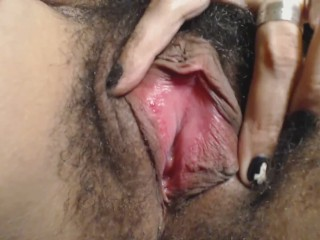 HD EXTREME Closeup of Hairy Pussy and Fingering