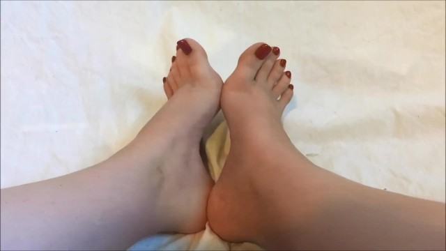 Sexy Pale Teen Showing Off Toes High Arches and Wrinkled Soles Red Toenails