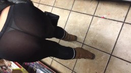 Wife See through black spandex public thong in store