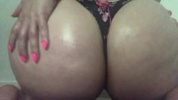 Curvy blonde in black bra and thong