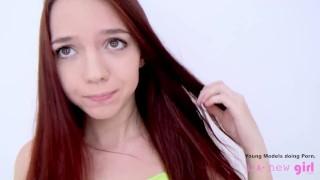 Petite teen at creampie fucked casting hardcore pov cheerleader teen redhead