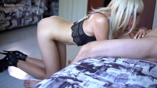 Deep Blowjob From Naked Blonde Girlfriend, She Swallow All Delicious :) 4K Oral dsl