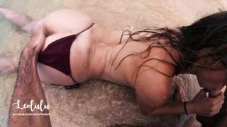 Sex on the Beach! Wild Fucking on an Island - Amateur Couple LeoLulu Threesome natural