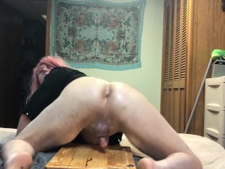 Abby the Sissy shemale riding, dildo