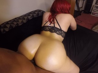 Doggy style w/ a big booty red head & she swallows cock!
