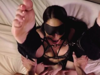 slave girl licking feet