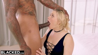 BLACKED MIA MALKOVA WORSHIPS BBC IN FIRST IR!! Blowjob gagging