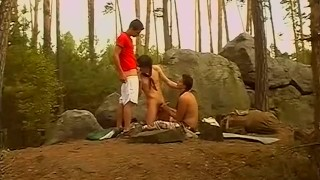 Hot dude gets threeway sex from big dick twinks in the woods porno