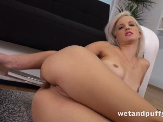 Puffy Pussy - Czech blonde toys her pussy and ass with a glass dildo