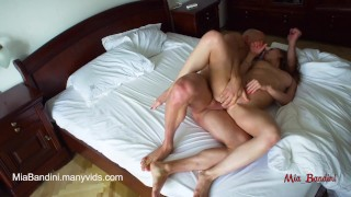 Amateur couple having morning passionate sex in the bedroom. Mia Bandini