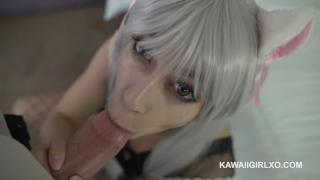 Getting fucked while her booty neko moans big maid kawaii anal