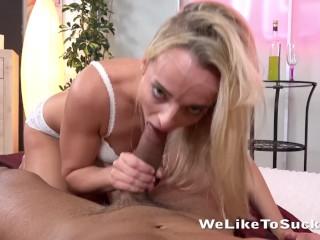 Blowjob - Czech blonde Victoria Pure sucks and rides a big cock
