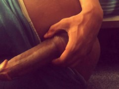 PRECUM from playing with my FAT DICK + NUT SACK | my brown ass