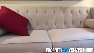 PropertySex - Behind on rent hot teen tenant fucks landlord Masturbation skinny