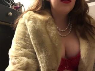 Teen Smoking Goddess with Big Perky Natural Tits Wearing a Fur Coat
