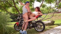 Redhead Shona River Rides Biker's Big Dick In The Outdoors