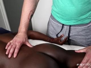 Rough interracial bbc massage with bubble butt white...