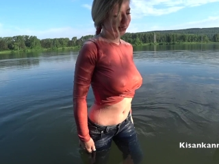 Squirt in a public place! Swimming in the lake with clothes on!