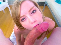 Tiny blonde Dolly Leigh has a passion for sucking cock and swallowing