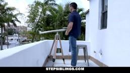 StepSiblings - Cute Ebony Teen Jerks Stepbro's Cock