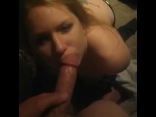 Hot blond sucks my cock like a pro
