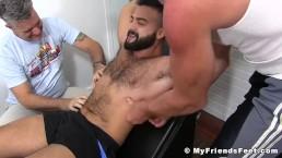 Bound stud receiving mega tickling treatment