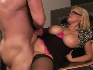 CAUGHT MASTURBATING! HUGE TITTY BLONDE TAKES CREAMPIE FUCK FOR JOB