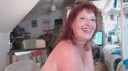 V100 Redheaded Cougar in panty parade and orgasm spectacular