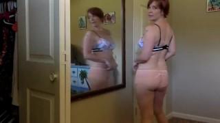Cute all natural Milf tries on new panties for you - Voyeur