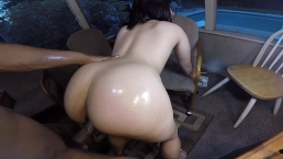 Naughty big booty chick gets fucked on the back porch & sucks dick!