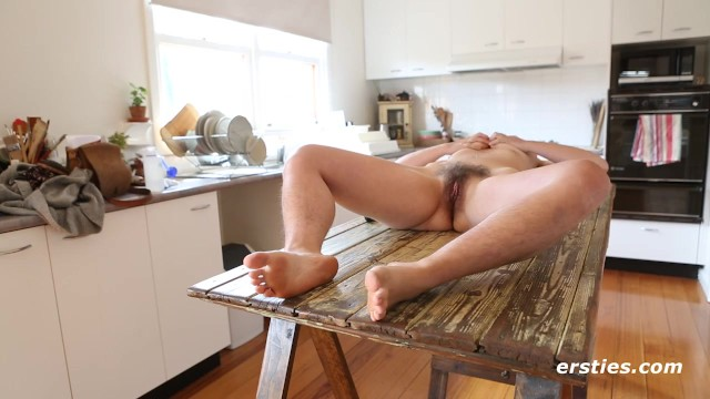 Very hairy Amateur Babe Getting off on Kitchen Table - ersties 13